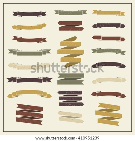 Collection of ribbons in retro style. Set 4 of vintage banners. - stock vector