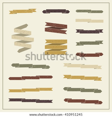 Collection of ribbons in retro style. Set 2 of vintage banners. - stock vector
