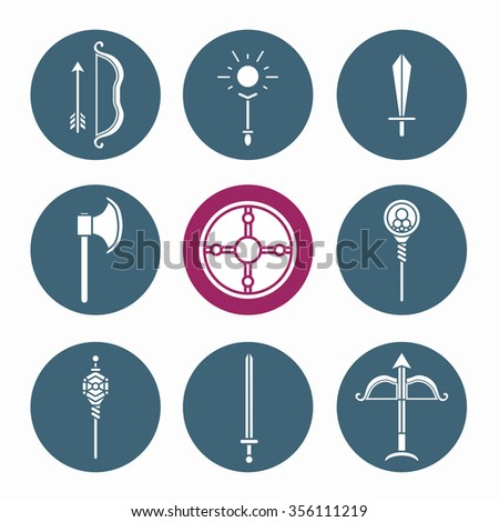 Collection of role-playing game weapon web icons. Vector illustration. - stock vector