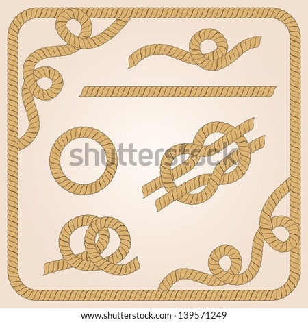 Collection of rope templates with knots, corners and frames - stock vector