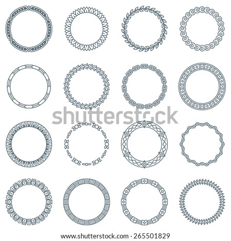Collection of 16 Round Decorative Frames and Labels with Lines, Geometric Shapes and Nature Elements - stock vector