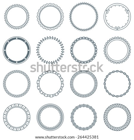 Collection of 16 Round Decorative Frames and Labels with Lines, Symmetric Geometric Shapes and Natural Elements - stock vector
