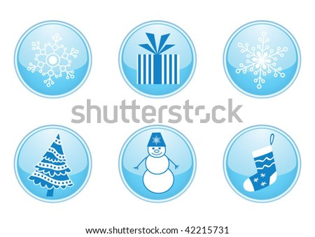 Collection of 6 round vector buttons for christmas and winter design - stock vector