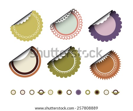 Collection of round vintage labels  - stock vector