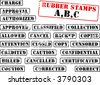 Collection of rubber stamps with words beginning with letter A, B, C. See other rubber stamp collections in my portfolio. - stock vector