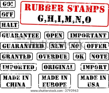 Collection of rubber stamps with words beginning with letter G, H, I, M, N, O. See other rubber stamp collections in my portfolio. - stock vector