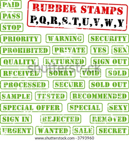 Collection of rubber stamps with words beginning with letter P,Q,R,S,T,U,V,W,Y. See other rubber stamp collections in my portfolio. - stock vector
