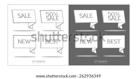Collection of sale discount flat retro styled website ribbons - stock vector