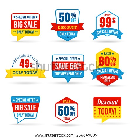 Collection of Sale Discount in flat design. Use for labels, stickers, labels and icons - stock vector