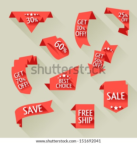 Collection of sale discount origami styled website ribbons, corners, labels, curls and tabs. 8 EPS