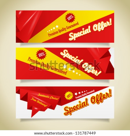 Collection of sale discount origami website banners. Image contains transparency in shadows - you can put it on every surface. 10 EPS - stock vector