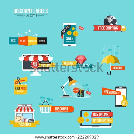 Collection of Sale Discount Styled  Banners.Flat style. Vector - stock vector