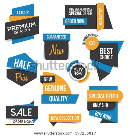 Collection of Sale Discount Styled origami Banners. Flat design. Vector - stock vector
