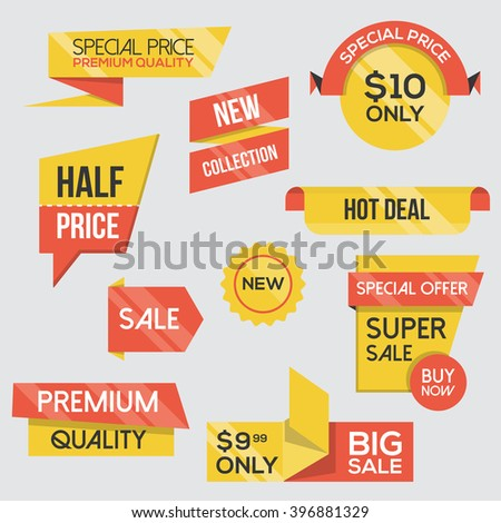 Collection of Sale Discount Styled origami Banners, Red and Yellow Theme. Flat design. Vector