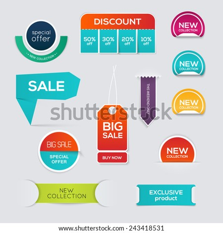 Collection of Sale Discount Styled origami Banners. Vector illustration. - stock vector