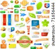 Collection of sale elements - stickers, labels, tags. Web banner and button. Set of advertising coupon. Vector design templates.  - stock vector