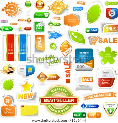 Collection of sale elements - stickers, labels, tags. Web banner and button. Set of advertising coupon. Vector design templates.