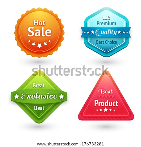 Collection of sale labels stickers or tags for best price high quality and exclusive deal isolated vector illustration - stock vector