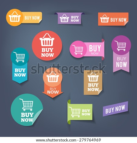 "Collection of sales buttons ""Buy Now"". Colorful flat design style. - stock vector"
