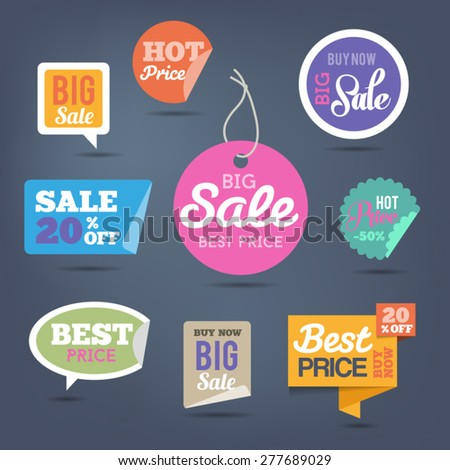 Collection of sales labels and stickers for web or print. - stock vector