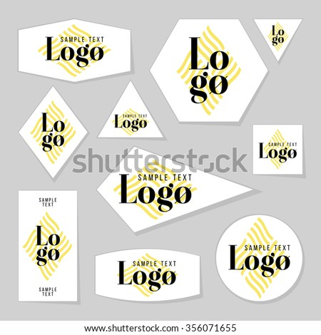 Collection of sample logo and text cards, notes, stickers, labels, tags with cute ornament illustrations. Template for scrapbooking, wrapping, notebooks, notebook, diary, decals, school accessories - stock vector