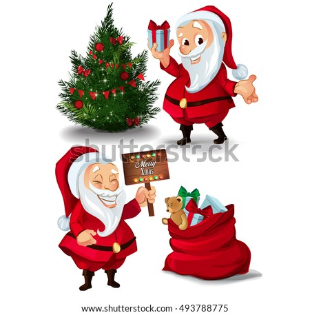 Collection of Santa Claus characters. Christmas celebration