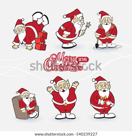 collection santa claus characters sign merry stock vector royalty
