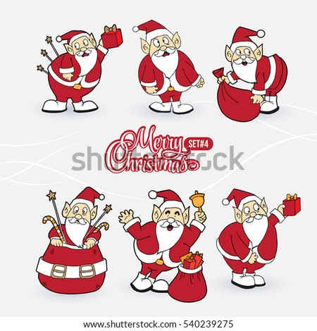 Collection of Santa Claus characters with sign Merry Christmas