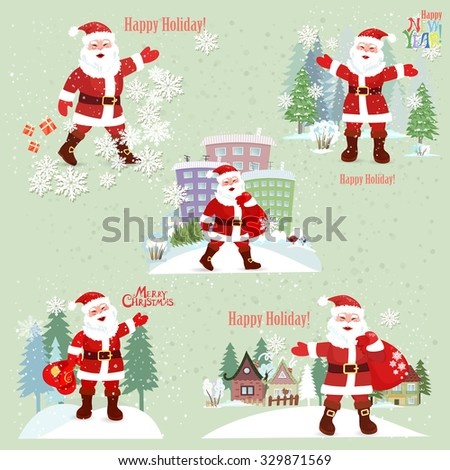 Collection of Santa Claus. Santa Claus in the city. Merry Christmas. New Year. - stock vector