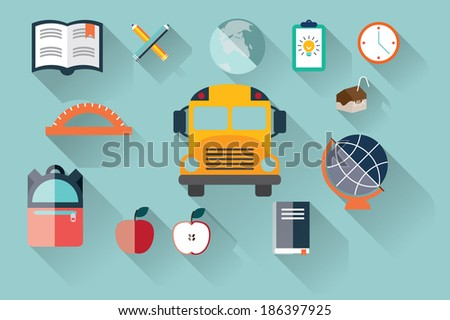 Collection of school items, flat design, long shadow, vector illustration