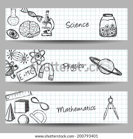 Collection of scientific illustrations on banners. Hand drawn style. - stock vector
