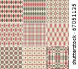 Collection of seamless argyle and plaid patterns in pastel colors - stock vector