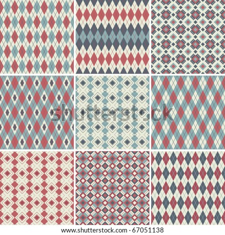 Collection of seamless argyle patterns - stock vector