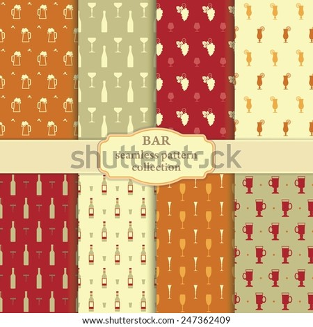 Collection of seamless backgrounds on a theme a bar - stock vector