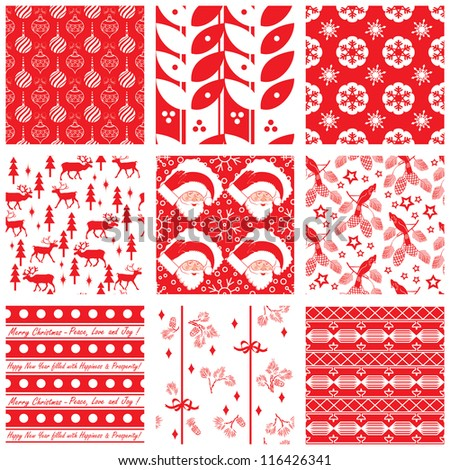 Collection of seamless Christmas swatches - stock vector