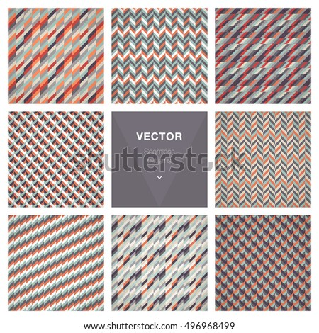 Collection of 8 seamless geometric patterns.