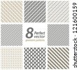 Collection of 8 seamless geometric patterns. Vector set. - stock photo