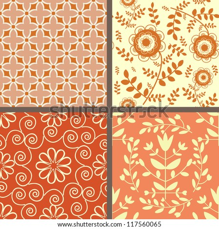 Collection of seamless light red floral patterns - stock vector