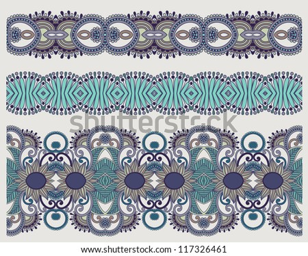 collection of seamless ornamental floral stripes - stock vector