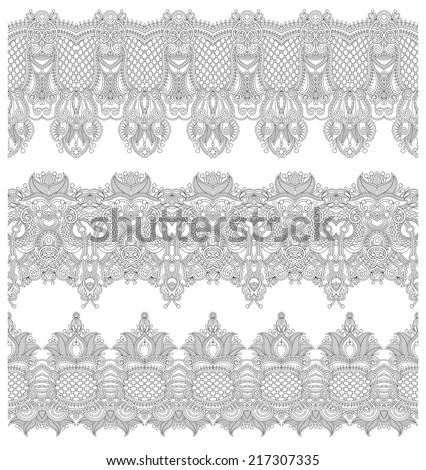 collection of seamless ornamental floral stripes, black and white collection, vector illustration
