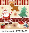 Collection of seamless patterns and elements for Christmas scrapbooking design - stock vector