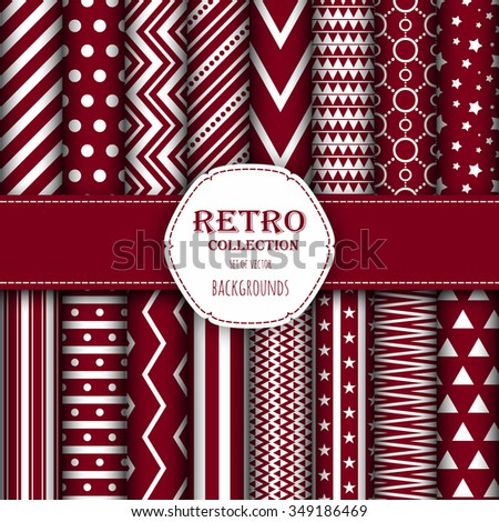 Collection of seamless patterns for wallpapers, pattern fills, web backgrounds, birthday and wedding cards. Red and white colors. - stock vector