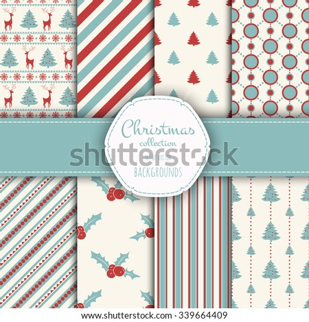Collection of seamless patterns. Merry Christmas and Happy New Year! Set of seamless backgrounds with traditional symbols:  snowflakes, pine tree,holly berry,deer and suitable abstract patterns.