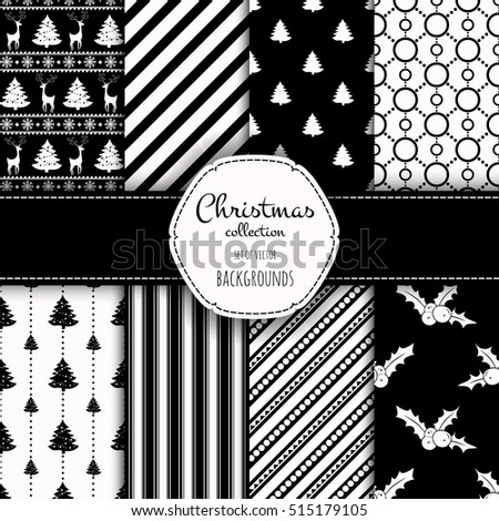 Collection of seamless patterns with black and white colors. Set of seamless backgrounds with traditional symbols - snowflakes, pine tree,deer,holly berry and suitable abstract patterns.
