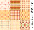 Collection of seamless plaid and argyle patterns in bright colors - stock vector