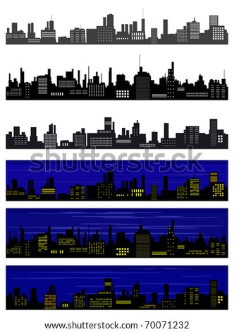 Collection of seamless vector towns - stock vector