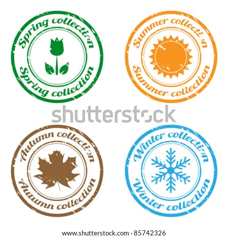 Collection of season stamps - stock vector