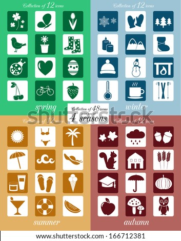 Collection of 48 seasonal icons. VECTOR illustration. - stock vector