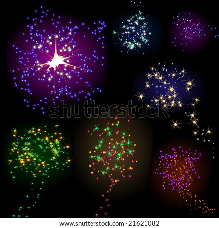 Collection of Seven Bright New Years Fireworks Explosions on Black - stock vector
