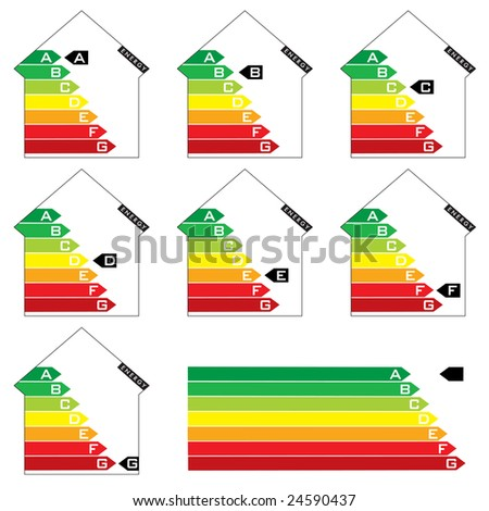 Collection of seven house energy rating graphs with arrows - stock vector